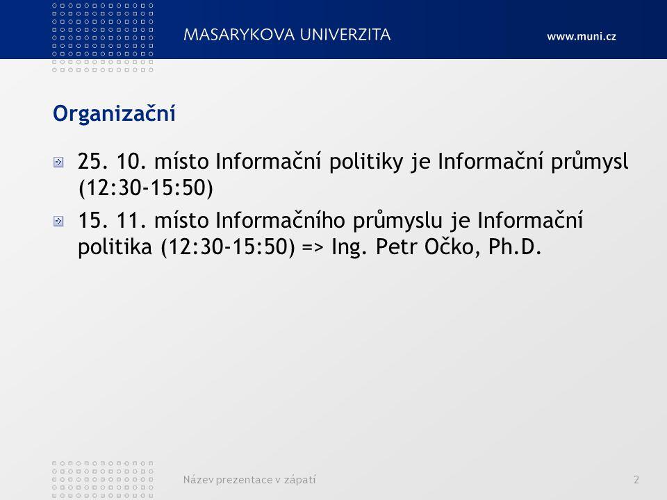 Organizační 25. 10. místo Informační politiky je Informační průmysl (12:30-15:50) 15. 11. místo Informačního průmyslu je Informační politika (12:30-15