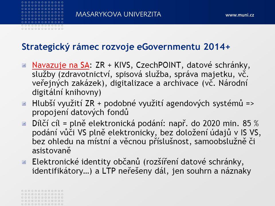 Strategický rámec rozvoje eGovernmentu 2014+ Navazuje na SANavazuje na SA: ZR + KIVS, CzechPOINT, datové schránky, služby (zdravotnictví, spisová služ