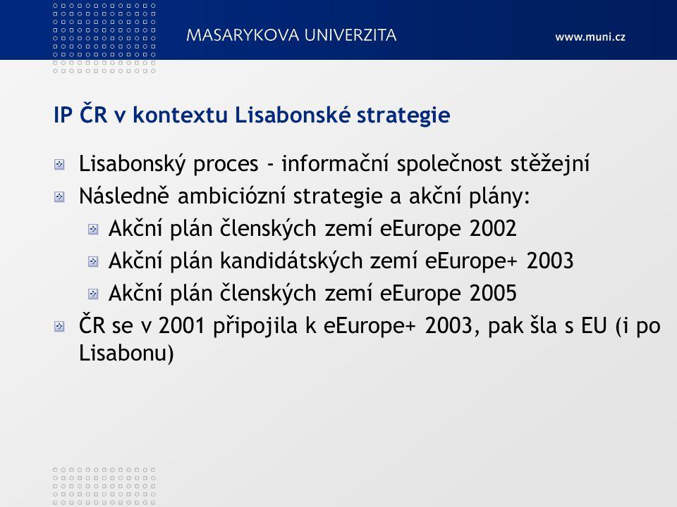 IP ČR v kontextu Lisabonské strategie Lisabonský proces - informační společnost stěžejní Následně ambiciózní strategie a akční plány: Akční plán člens
