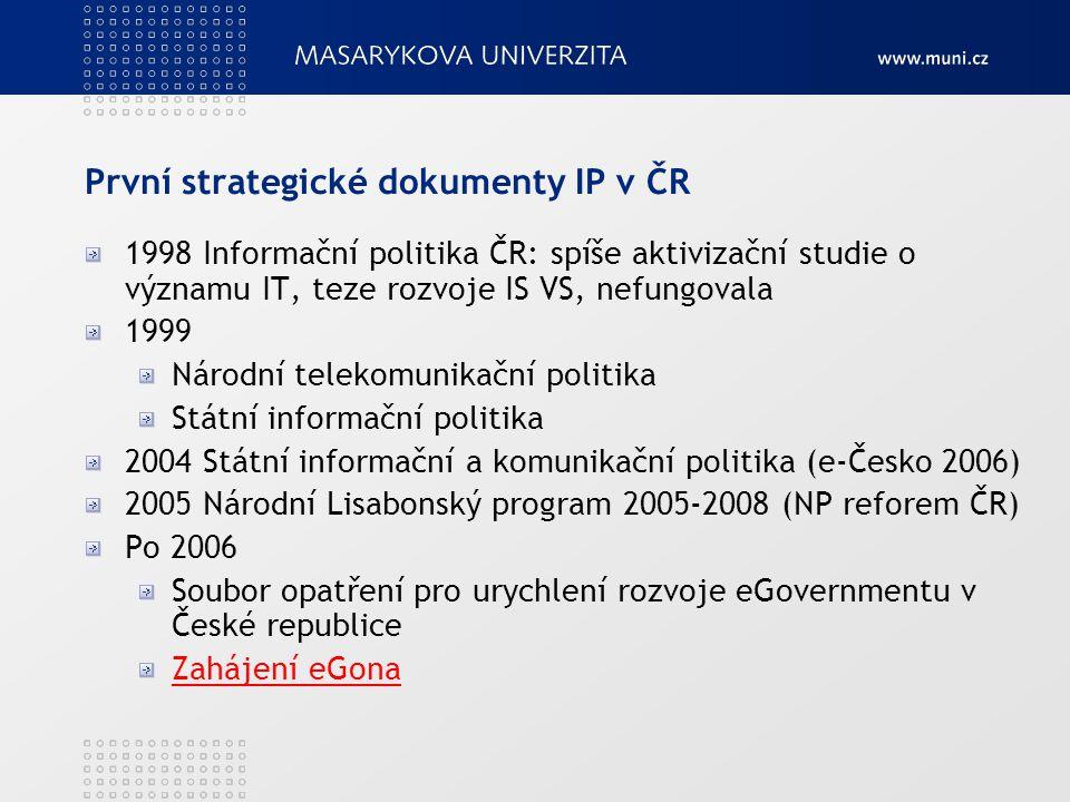 První strategické dokumenty IP v ČR 1998 Informační politika ČR: spíše aktivizační studie o významu IT, teze rozvoje IS VS, nefungovala 1999 Národní t