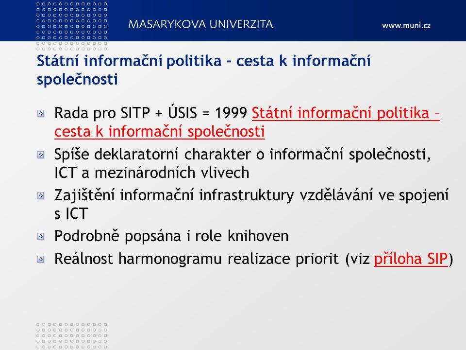 Státní informační politika - cesta k informační společnosti Rada pro SITP + ÚSIS = 1999 Státní informační politika – cesta k informační společnostiStá