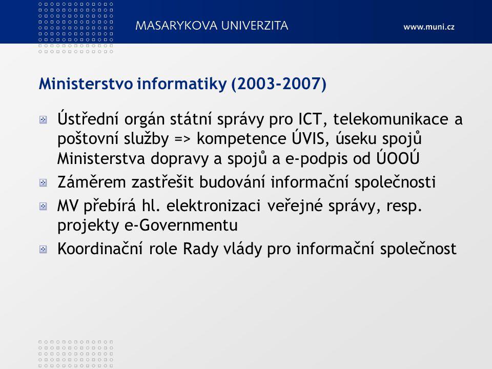 Ministerstvo informatiky (2003-2007) Ústřední orgán státní správy pro ICT, telekomunikace a poštovní služby => kompetence ÚVIS, úseku spojů Ministerst