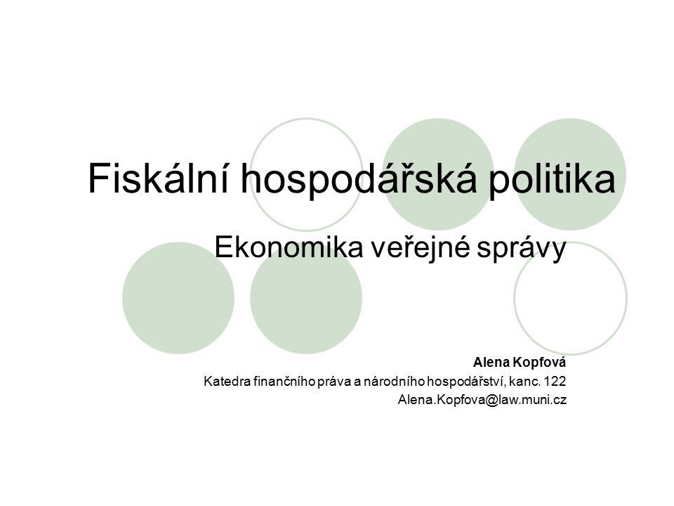 Fiskální hospodářská politika Ekonomika veřejné správy Alena Kopfová Katedra finančního práva a národního hospodářství, kanc. 122 Alena.Kopfova@law.mu