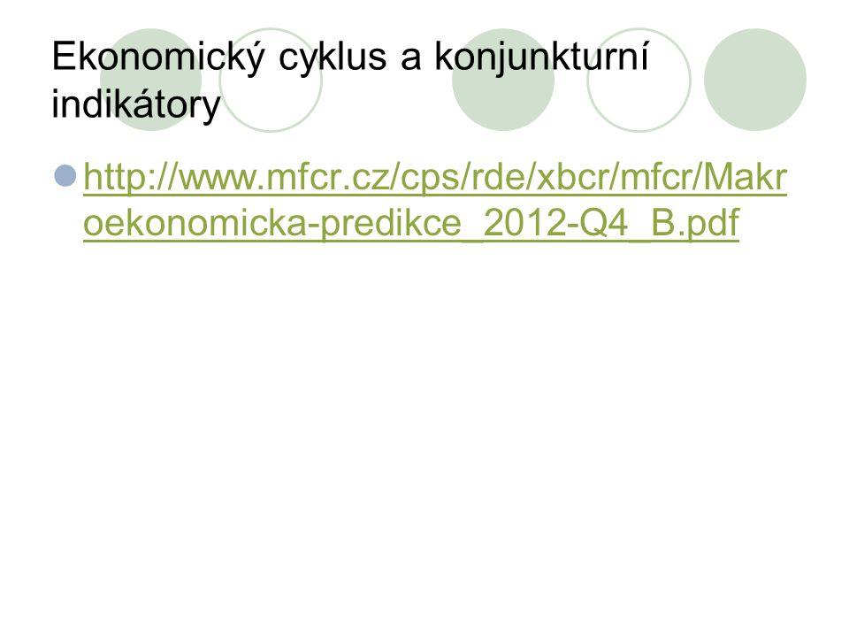 Ekonomický cyklus a konjunkturní indikátory http://www.mfcr.cz/cps/rde/xbcr/mfcr/Makr oekonomicka-predikce_2012-Q4_B.pdf http://www.mfcr.cz/cps/rde/xb