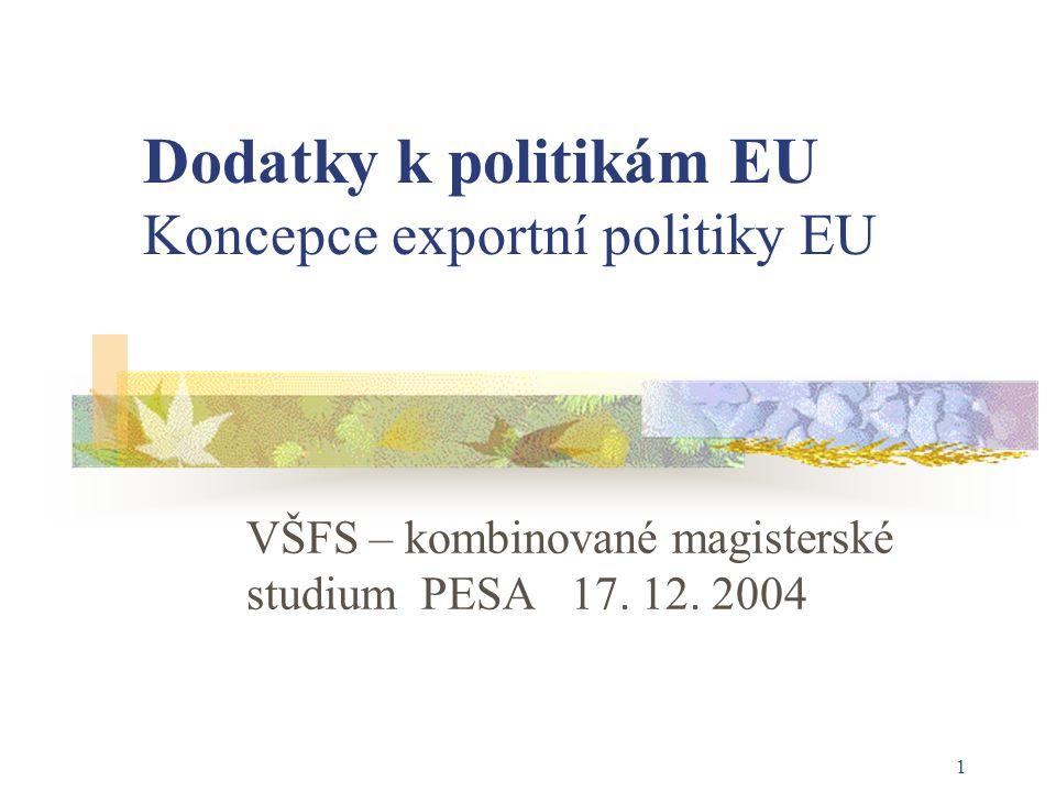 1 Dodatky k politikám EU Koncepce exportní politiky EU VŠFS – kombinované magisterské studium PESA 17. 12. 2004