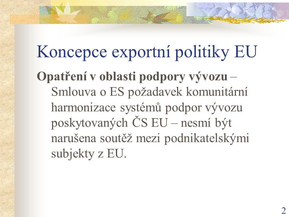2 Koncepce exportní politiky EU Opatření v oblasti podpory vývozu – Smlouva o ES požadavek komunitární harmonizace systémů podpor vývozu poskytovaných ČS EU – nesmí být narušena soutěž mezi podnikatelskými subjekty z EU.
