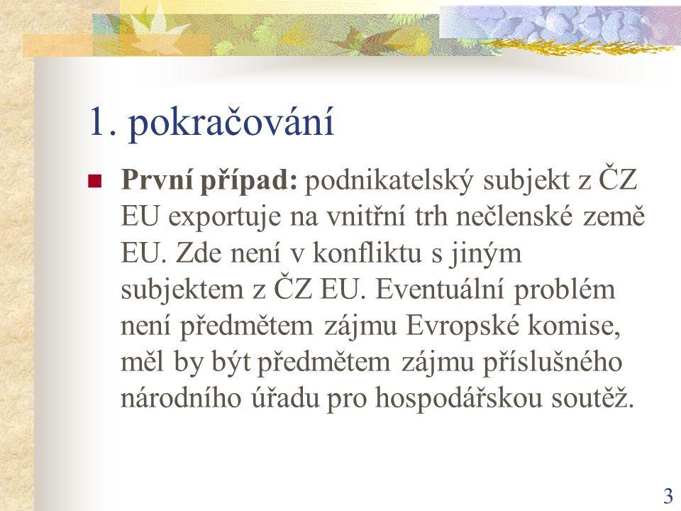 3 1. pokračování První případ: podnikatelský subjekt z ČZ EU exportuje na vnitřní trh nečlenské země EU. Zde není v konfliktu s jiným subjektem z ČZ E