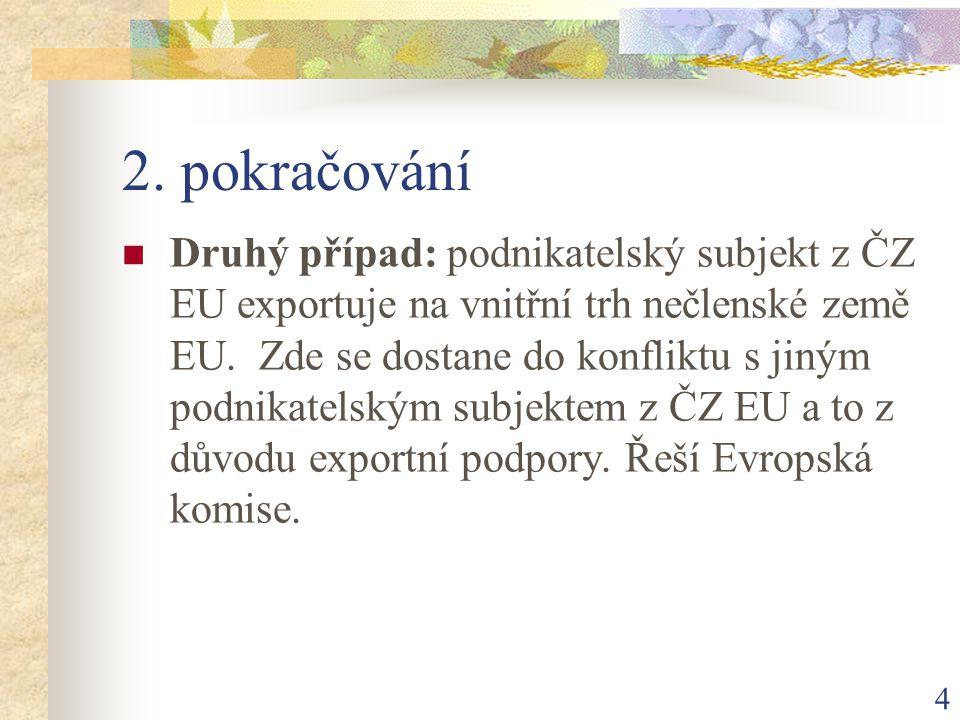 4 2. pokračování Druhý případ: podnikatelský subjekt z ČZ EU exportuje na vnitřní trh nečlenské země EU. Zde se dostane do konfliktu s jiným podnikate