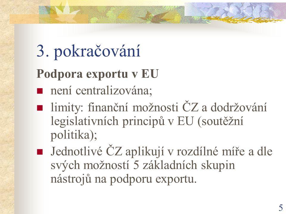 5 3. pokračování Podpora exportu v EU není centralizována; limity: finanční možnosti ČZ a dodržování legislativních principů v EU (soutěžní politika);