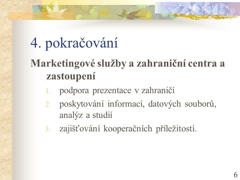 6 4. pokračování Marketingové služby a zahraniční centra a zastoupení 1. podpora prezentace v zahraničí 2. poskytování informací, datových souborů, an