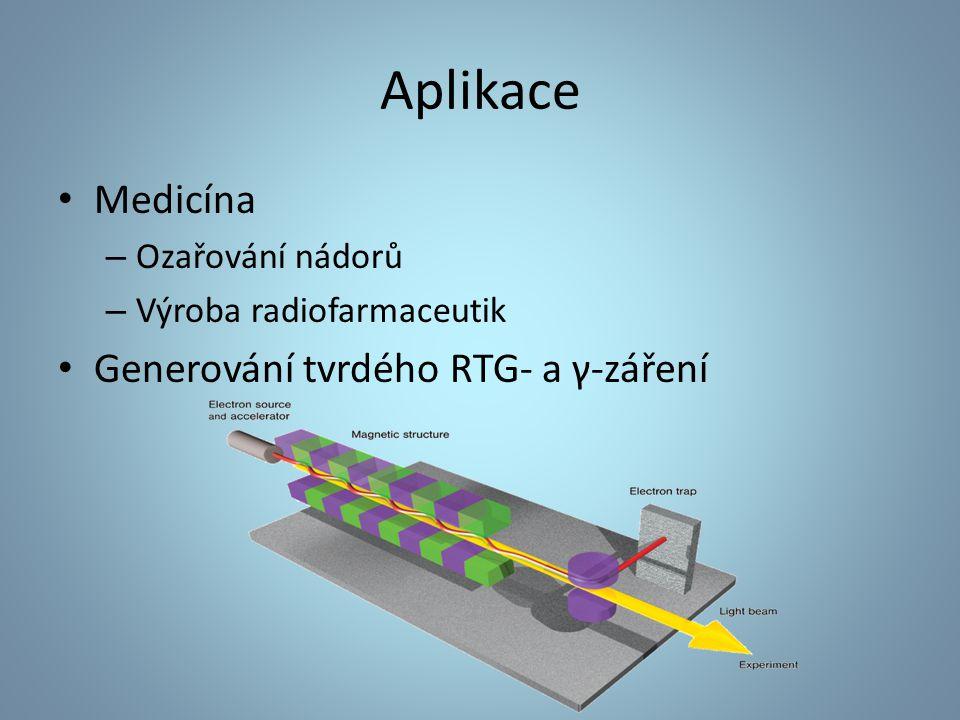 Aplikace Medicína – Ozařování nádorů – Výroba radiofarmaceutik Generování tvrdého RTG- a γ-záření