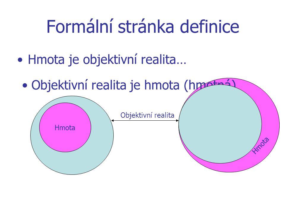Hmota Formální stránka definice Hmota je objektivní realita… Hmota Objektivní realita Objektivní realita je hmota (hmotná)