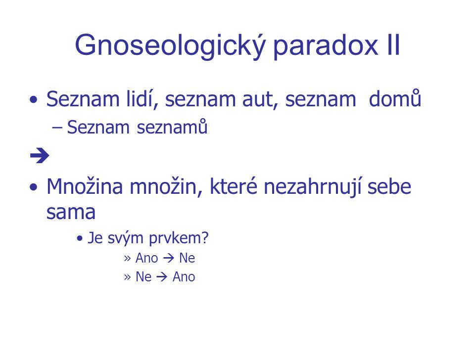 Gnoseologický paradox II Seznam lidí, seznam aut, seznam domů –S–Seznam seznamů  Množina množin, které nezahrnují sebe sama Je svým prvkem? »A»Ano 