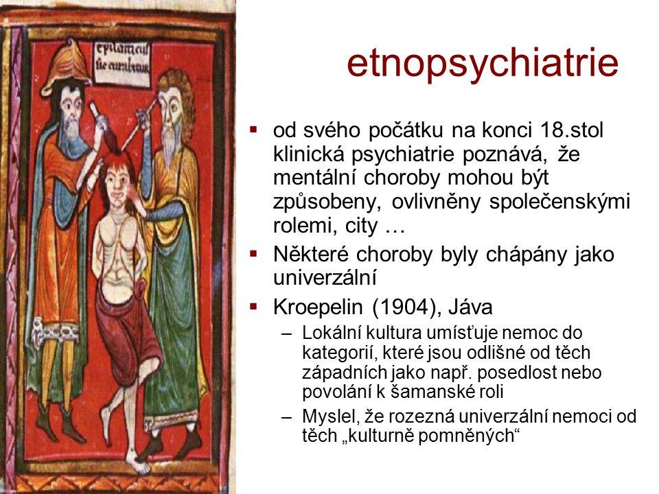 etnopsychiatrie  od svého počátku na konci 18.stol klinická psychiatrie poznává, že mentální choroby mohou být způsobeny, ovlivněny společenskými rol