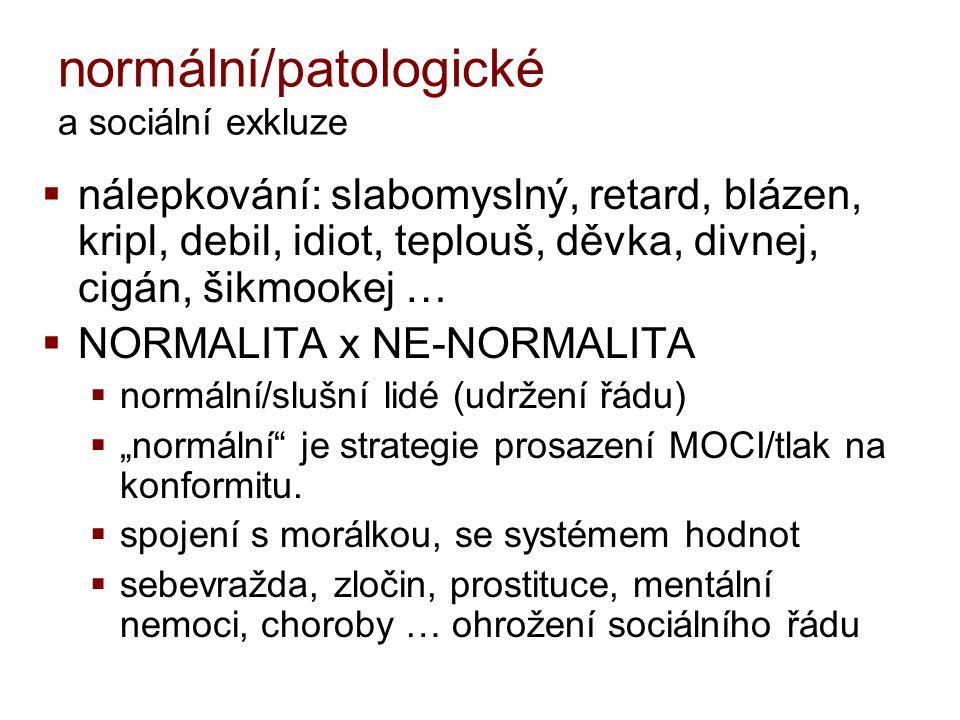 normální/patologické a sociální exkluze  nálepkování: slabomyslný, retard, blázen, kripl, debil, idiot, teplouš, děvka, divnej, cigán, šikmookej … 
