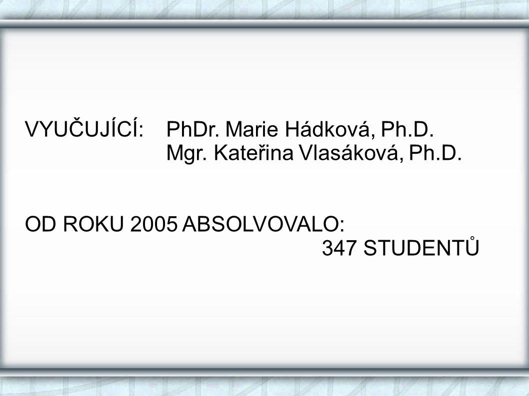 VYUČUJÍCÍ:PhDr.Marie Hádková, Ph.D. Mgr. Kateřina Vlasáková, Ph.D.