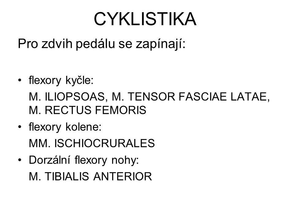 CYKLISTIKA Pro zdvih pedálu se zapínají: flexory kyčle: M. ILIOPSOAS, M. TENSOR FASCIAE LATAE, M. RECTUS FEMORIS flexory kolene: MM. ISCHIOCRURALES Do