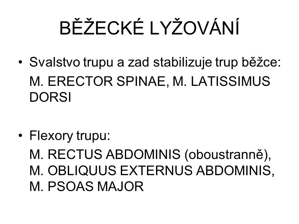 BĚŽECKÉ LYŽOVÁNÍ Svalstvo trupu a zad stabilizuje trup běžce: M. ERECTOR SPINAE, M. LATISSIMUS DORSI Flexory trupu: M. RECTUS ABDOMINIS (oboustranně),