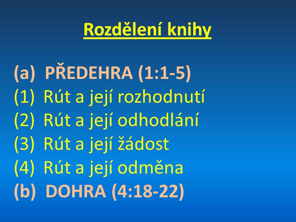 Rozdělení knihy (a) PŘEDEHRA (1:1-5) (1)Rút a její rozhodnutí (2)Rút a její odhodlání (3)Rút a její žádost (4)Rút a její odměna (b) DOHRA (4:18-22)