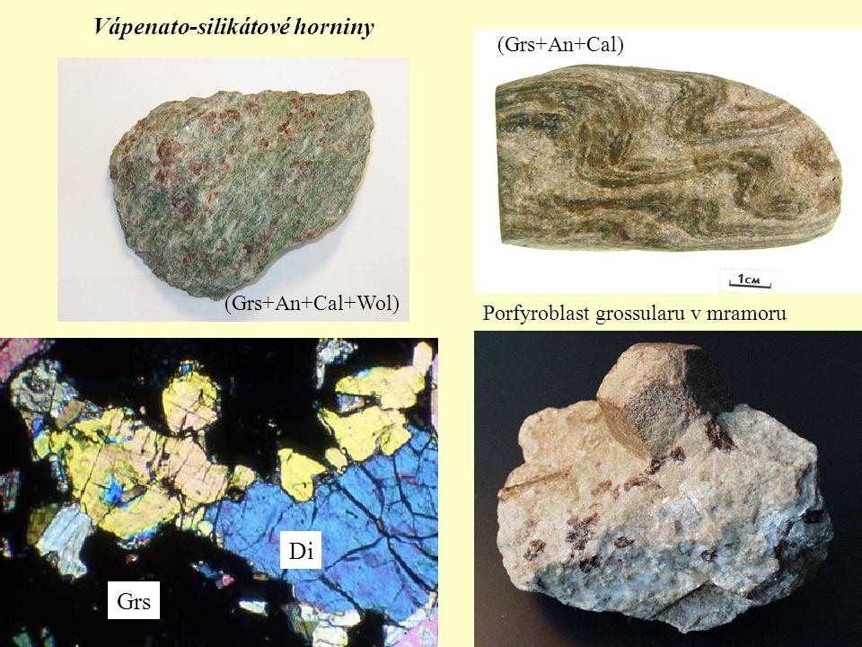 Vápenato-silikátové horniny (Grs+An+Cal) Porfyroblast grossularu v mramoru Grs Di (Grs+An+Cal+Wol)
