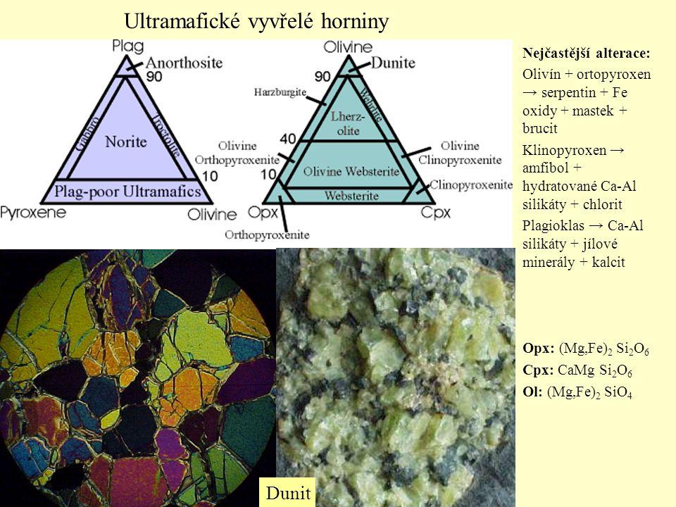 Nejčastější alterace: Olivín + ortopyroxen → serpentin + Fe oxidy + mastek + brucit Klinopyroxen → amfibol + hydratované Ca-Al silikáty + chlorit Plag
