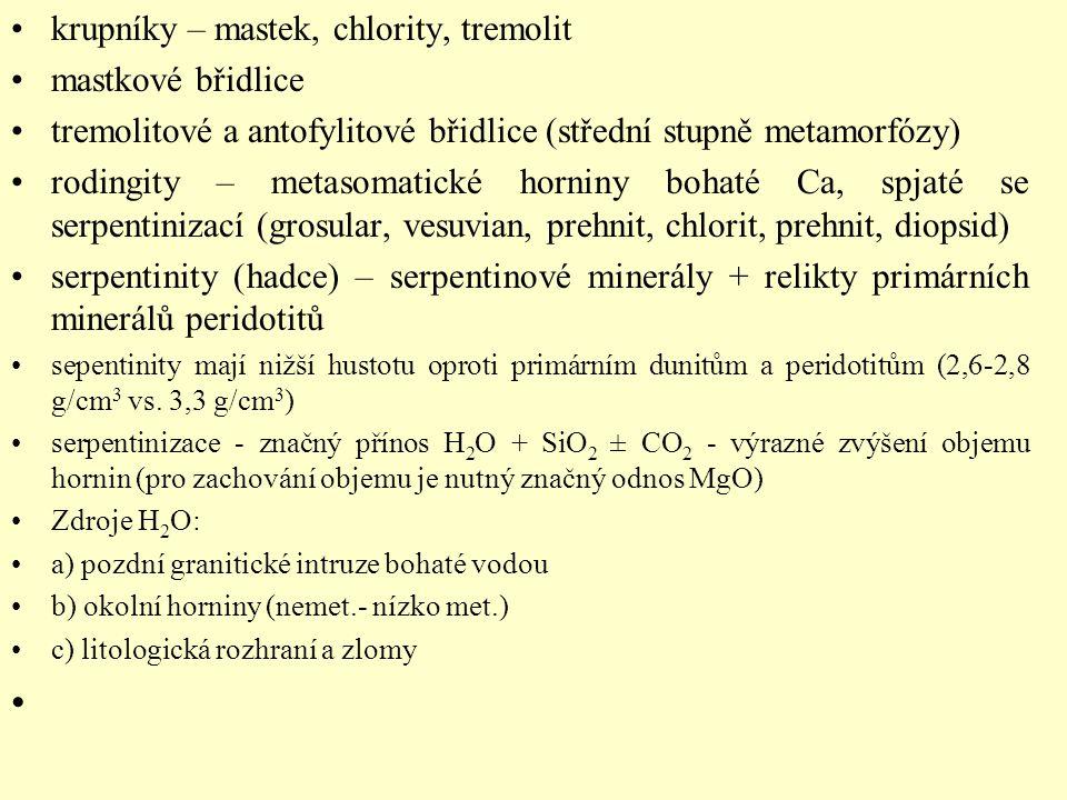 krupníky – mastek, chlority, tremolit mastkové břidlice tremolitové a antofylitové břidlice (střední stupně metamorfózy) rodingity – metasomatické hor