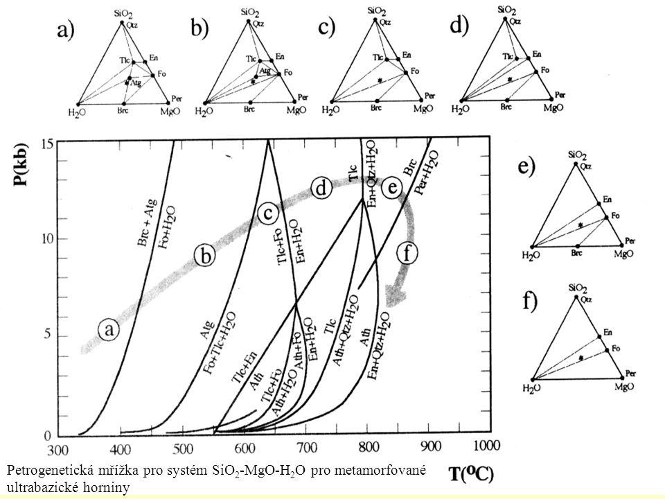 Petrogenetická mřížka pro systém SiO 2 -MgO-H 2 O pro metamorfované ultrabazické horniny