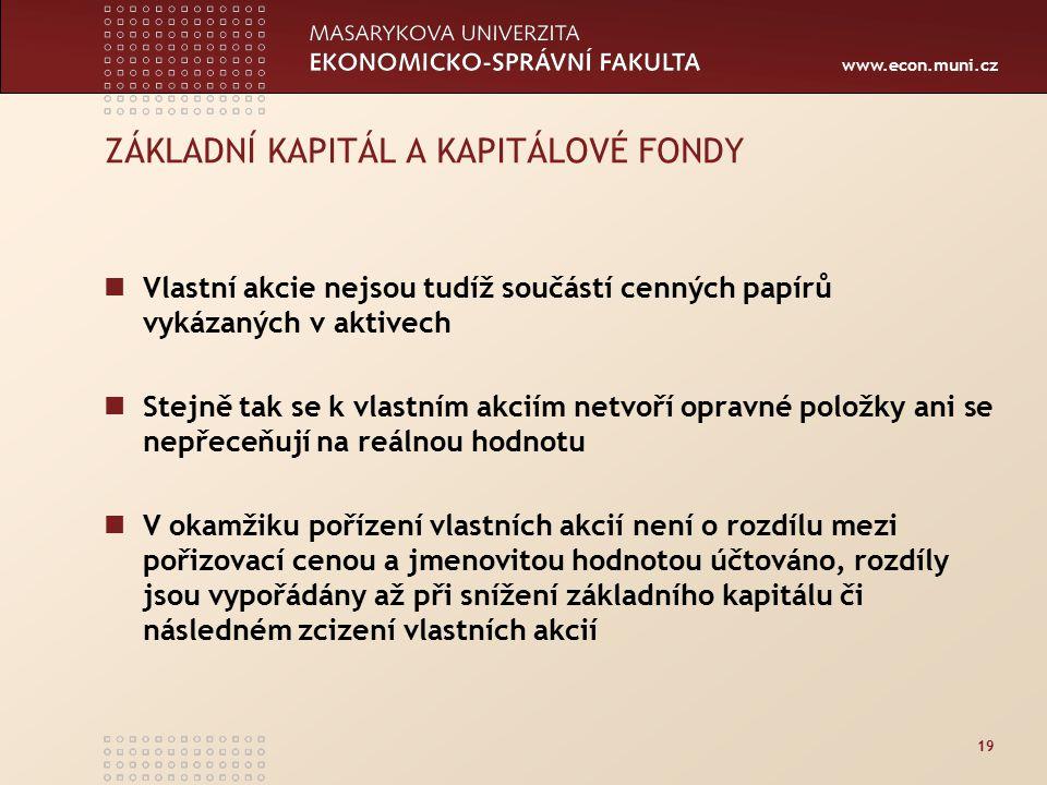 www.econ.muni.cz 19 ZÁKLADNÍ KAPITÁL A KAPITÁLOVÉ FONDY Vlastní akcie nejsou tudíž součástí cenných papírů vykázaných v aktivech Stejně tak se k vlast