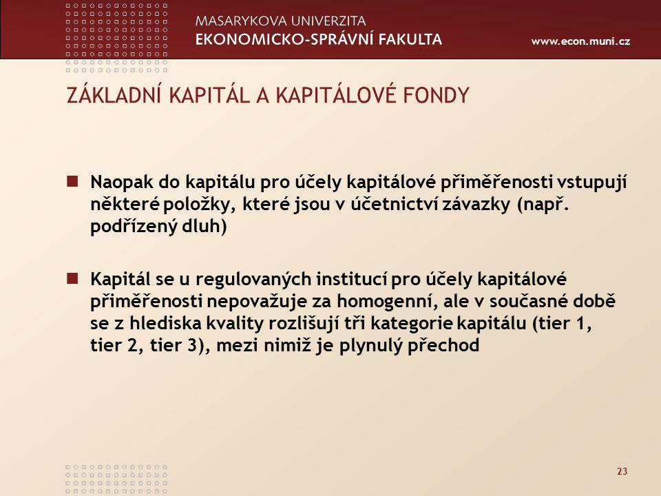 www.econ.muni.cz 23 ZÁKLADNÍ KAPITÁL A KAPITÁLOVÉ FONDY Naopak do kapitálu pro účely kapitálové přiměřenosti vstupují některé položky, které jsou v úč