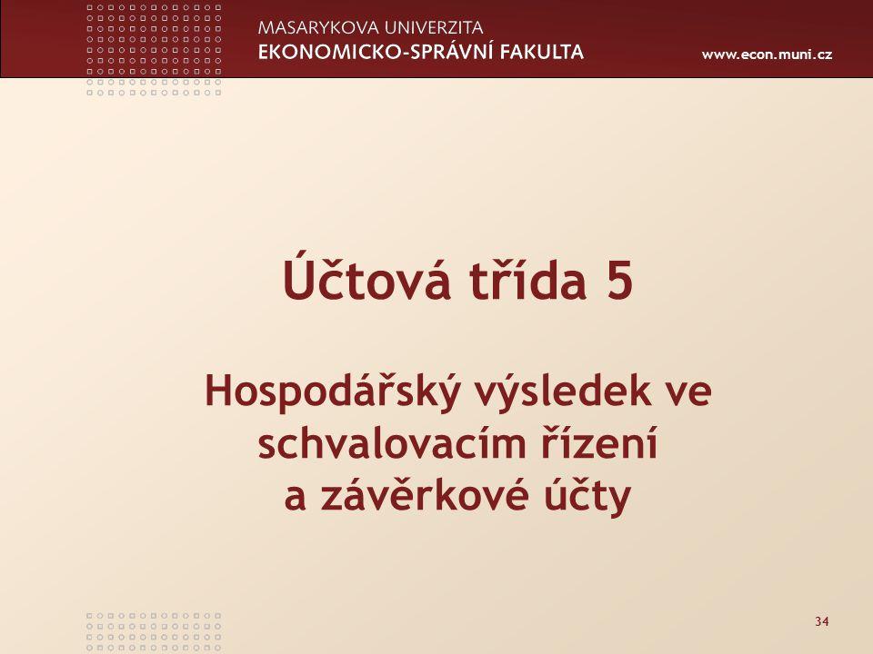 www.econ.muni.cz 34 Účtová třída 5 Hospodářský výsledek ve schvalovacím řízení a závěrkové účty