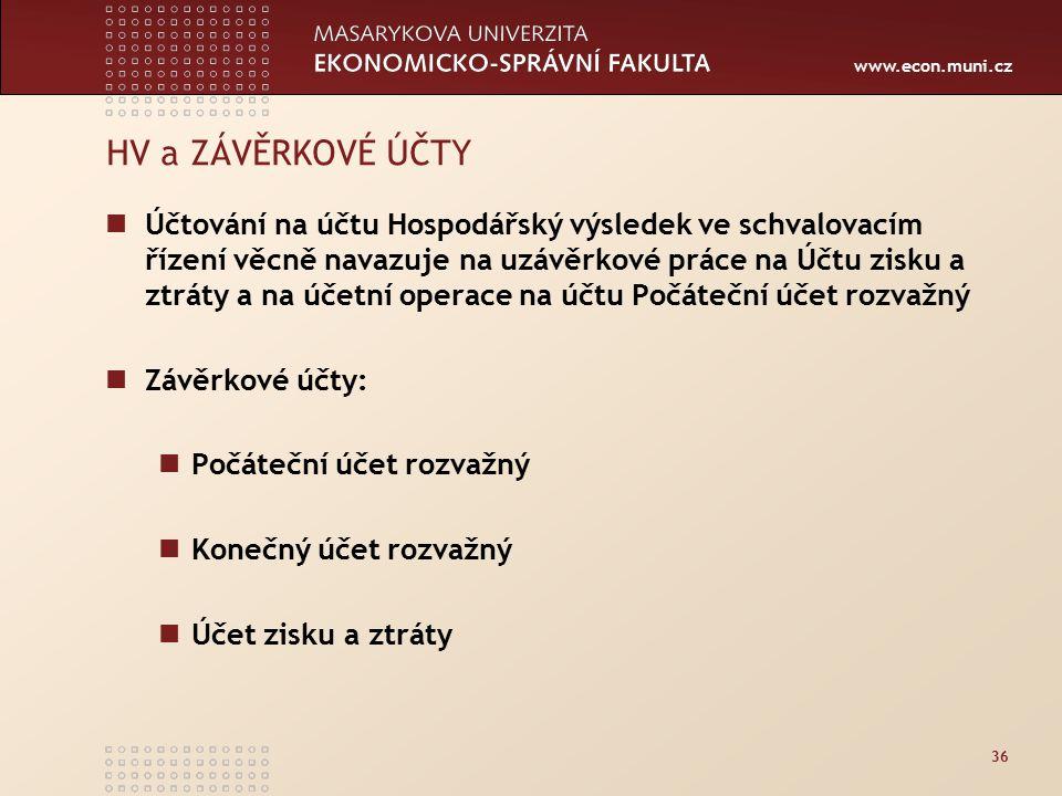 www.econ.muni.cz 36 HV a ZÁVĚRKOVÉ ÚČTY Účtování na účtu Hospodářský výsledek ve schvalovacím řízení věcně navazuje na uzávěrkové práce na Účtu zisku