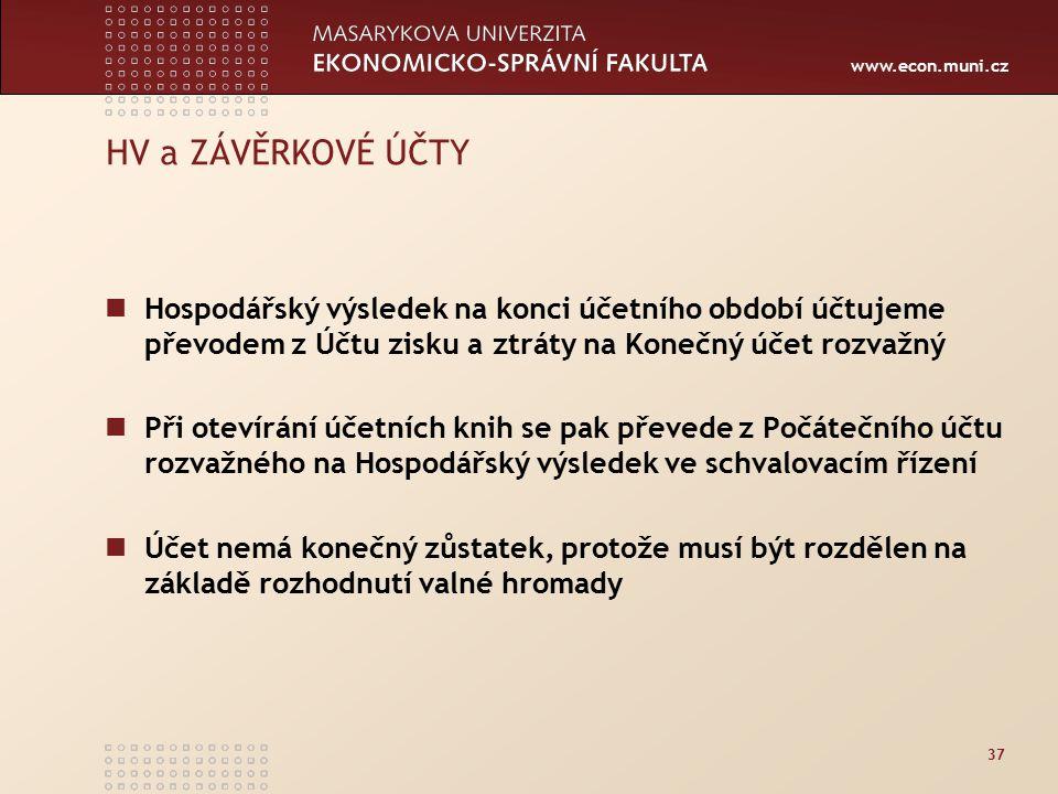 www.econ.muni.cz 37 HV a ZÁVĚRKOVÉ ÚČTY Hospodářský výsledek na konci účetního období účtujeme převodem z Účtu zisku a ztráty na Konečný účet rozvažný