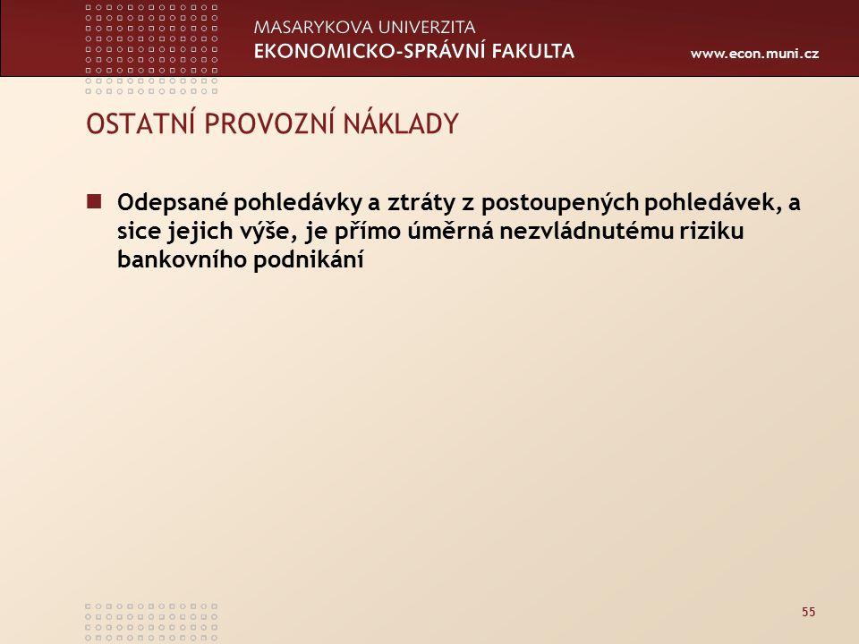 www.econ.muni.cz 55 OSTATNÍ PROVOZNÍ NÁKLADY Odepsané pohledávky a ztráty z postoupených pohledávek, a sice jejich výše, je přímo úměrná nezvládnutému riziku bankovního podnikání
