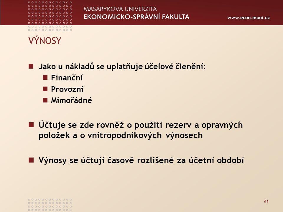 www.econ.muni.cz 61 VÝNOSY Jako u nákladů se uplatňuje účelové členění: Finanční Provozní Mimořádné Účtuje se zde rovněž o použití rezerv a opravných položek a o vnitropodnikových výnosech Výnosy se účtují časově rozlišené za účetní období