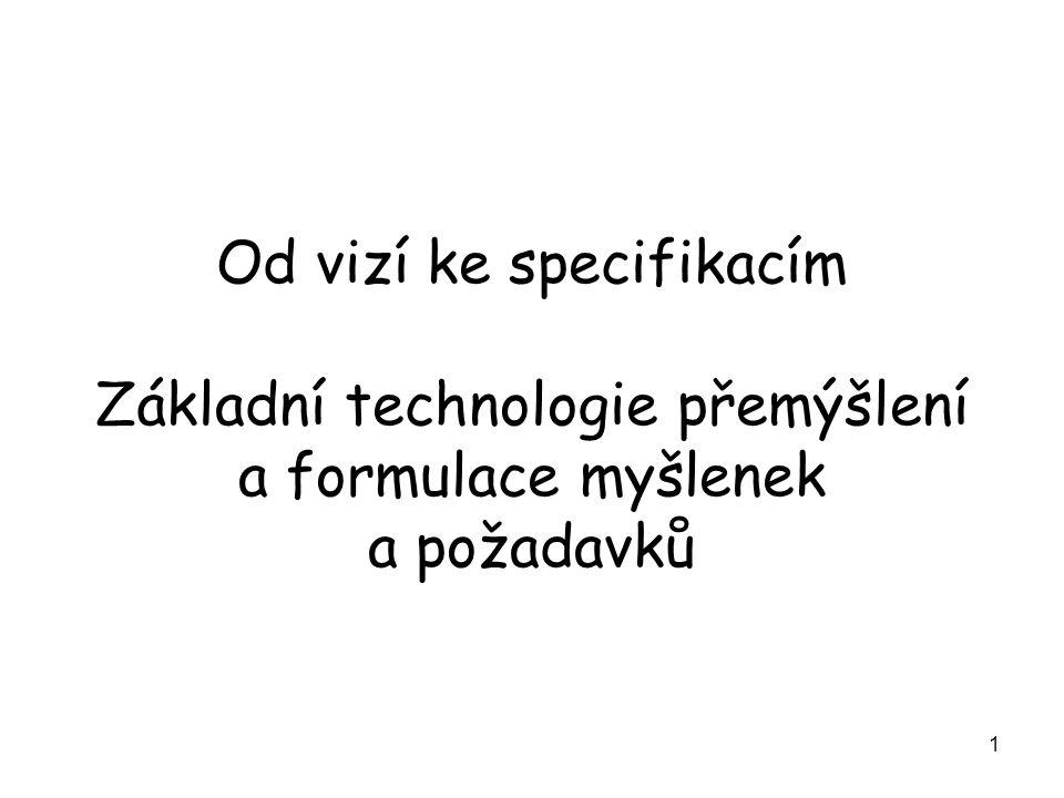 1 Od vizí ke specifikacím Základní technologie přemýšlení a formulace myšlenek a požadavků