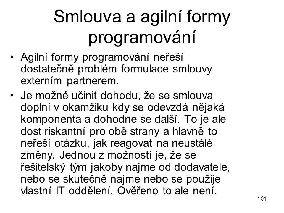 101 Smlouva a agilní formy programování Agilní formy programování neřeší dostatečně problém formulace smlouvy externím partnerem. Je možné učinit doho