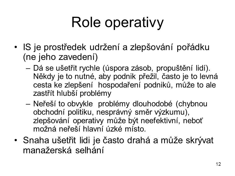 12 Role operativy IS je prostředek udržení a zlepšování pořádku (ne jeho zavedení) –Dá se ušetřit rychle (úspora zásob, propuštění lidí). Někdy je to