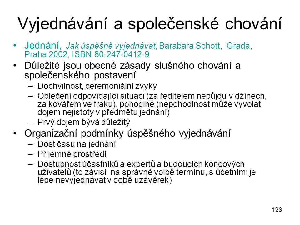 123 Vyjednávání a společenské chování Jednání, Jak úspěšně vyjednávat, Barabara Schott, Grada, Praha 2002, ISBN:80-247-0412-9 Důležité jsou obecné zás