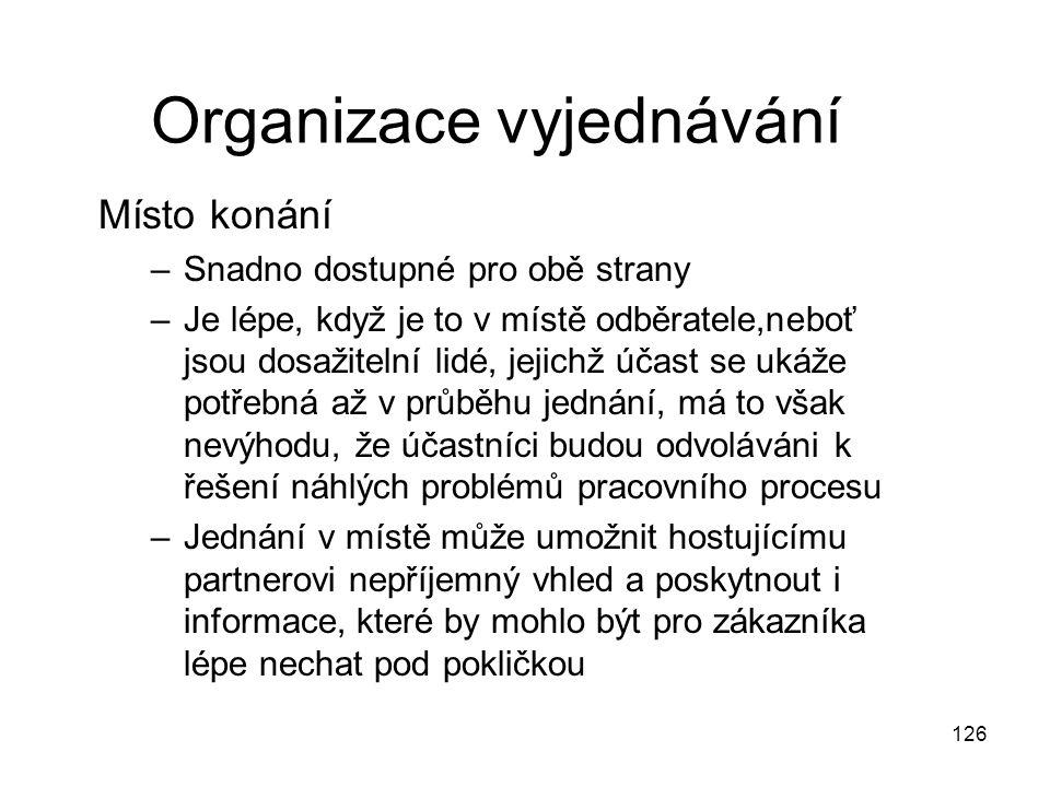 126 Organizace vyjednávání Místo konání –Snadno dostupné pro obě strany –Je lépe, když je to v místě odběratele,neboť jsou dosažitelní lidé, jejichž ú
