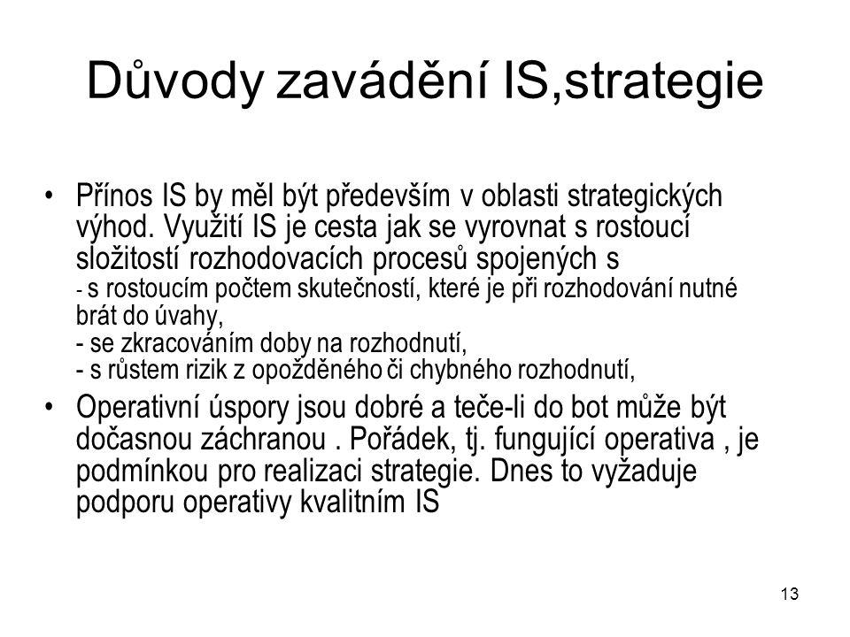 13 Důvody zavádění IS,strategie Přínos IS by měl být především v oblasti strategických výhod. Využití IS je cesta jak se vyrovnat s rostoucí složitost