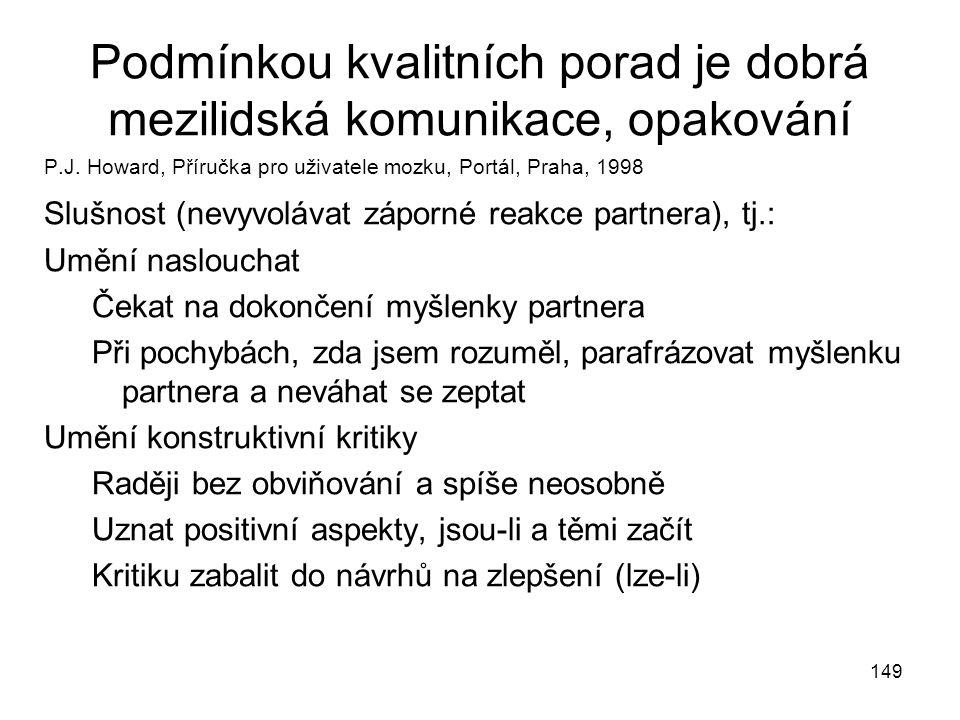 149 Podmínkou kvalitních porad je dobrá mezilidská komunikace, opakování P.J. Howard, Příručka pro uživatele mozku, Portál, Praha, 1998 Slušnost (nevy