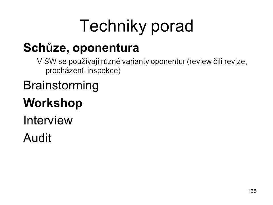 155 Techniky porad Schůze, oponentura V SW se používají různé varianty oponentur (review čili revize, procházení, inspekce) Brainstorming Workshop Int