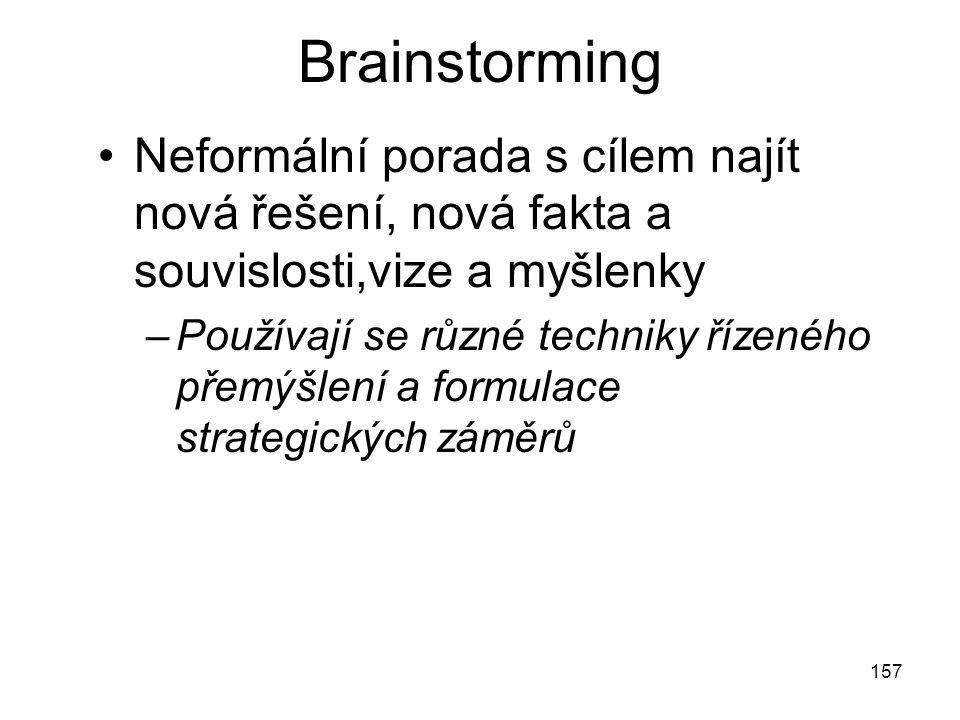 157 Brainstorming Neformální porada s cílem najít nová řešení, nová fakta a souvislosti,vize a myšlenky –Používají se různé techniky řízeného přemýšle