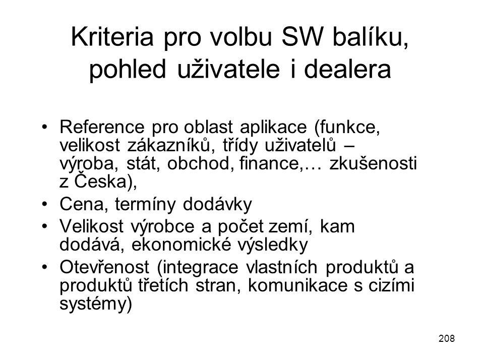 208 Kriteria pro volbu SW balíku, pohled uživatele i dealera Reference pro oblast aplikace (funkce, velikost zákazníků, třídy uživatelů – výroba, stát