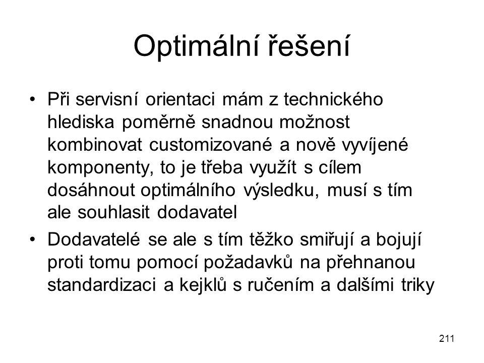 211 Optimální řešení Při servisní orientaci mám z technického hlediska poměrně snadnou možnost kombinovat customizované a nově vyvíjené komponenty, to