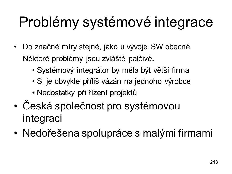 213 Problémy systémové integrace Do značné míry stejné, jako u vývoje SW obecně. Některé problémy jsou zvláště palčivé. Systémový integrátor by měla b