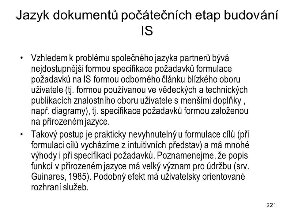 221 Jazyk dokumentů počátečních etap budování IS Vzhledem k problému společného jazyka partnerů bývá nejdostupnější formou specifikace požadavků formu