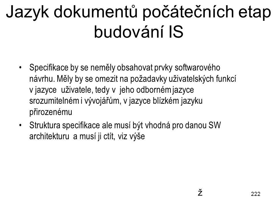 222 Jazyk dokumentů počátečních etap budování IS Specifikace by se neměly obsahovat prvky softwarového návrhu. Měly by se omezit na požadavky uživatel