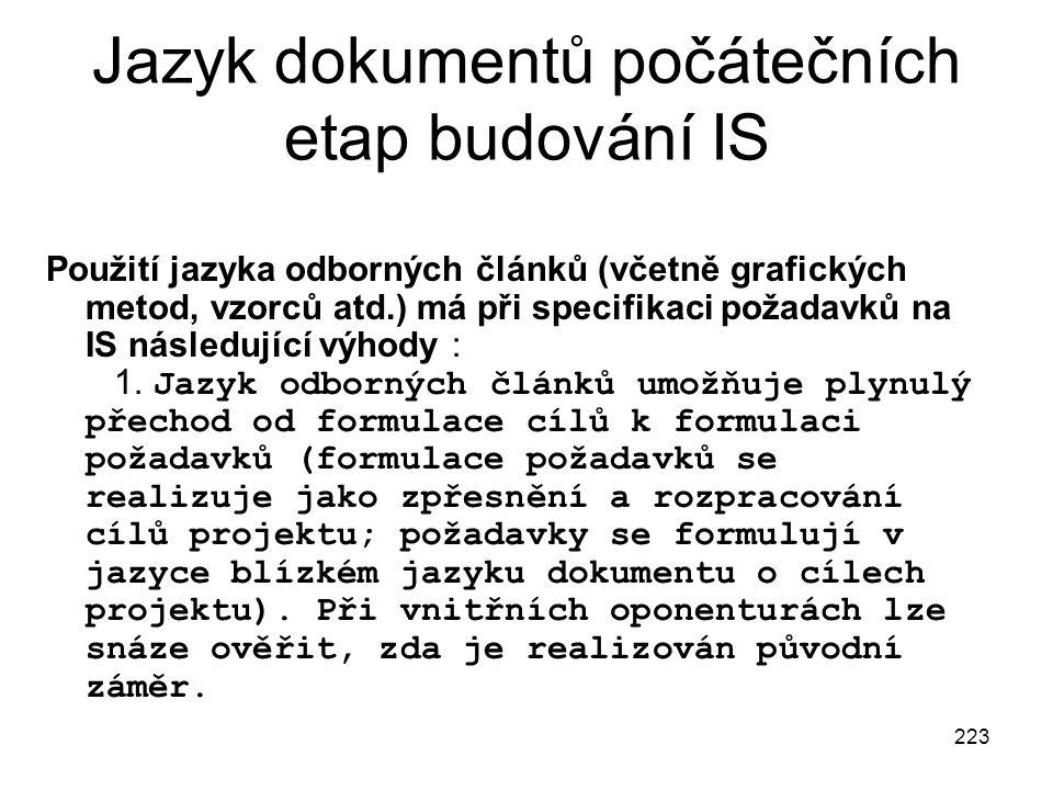 223 Jazyk dokumentů počátečních etap budování IS Použití jazyka odborných článků (včetně grafických metod, vzorců atd.) má při specifikaci požadavků n