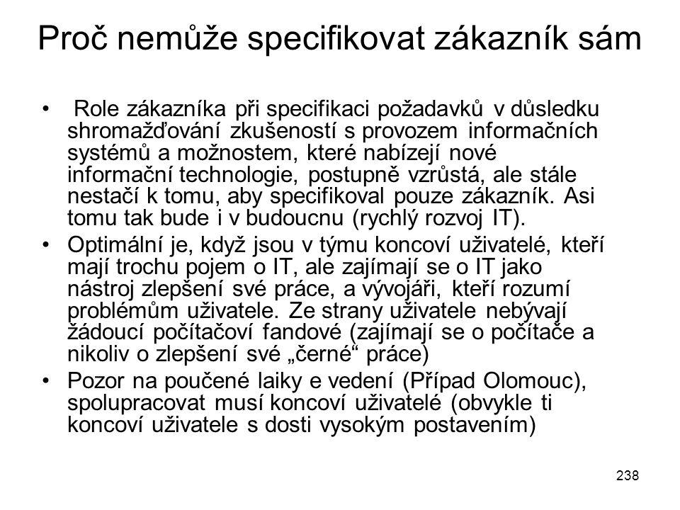 238 Proč nemůže specifikovat zákazník sám Role zákazníka při specifikaci požadavků v důsledku shromažďování zkušeností s provozem informačních systémů